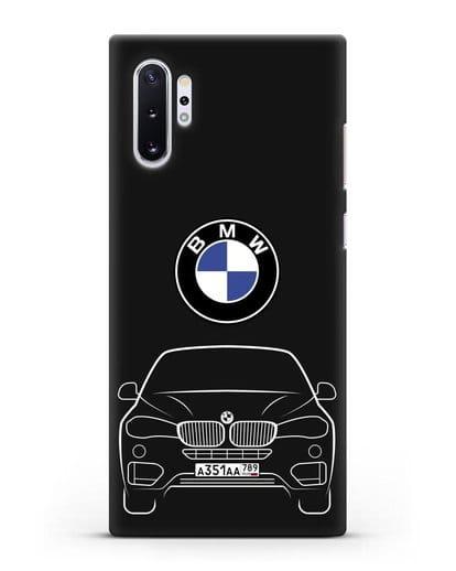 Чехол BMW X6 с автомобильным номером силикон черный для Samsung Galaxy Note 10 Plus [N975F]