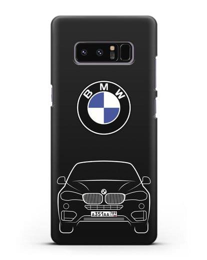 Чехол BMW X6 с автомобильным номером силикон черный для Samsung Galaxy Note 8 [N950F]