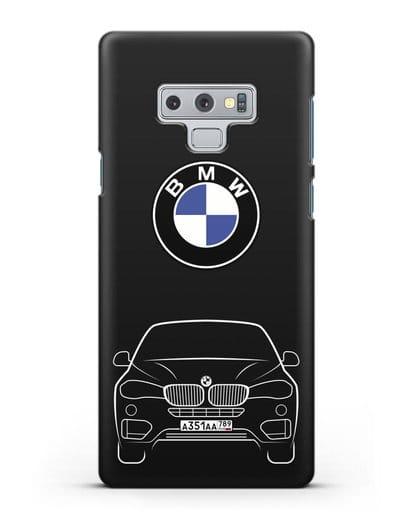 Чехол BMW X6 с автомобильным номером силикон черный для Samsung Galaxy Note 9 [N960F]