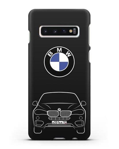 Чехол BMW X6 с автомобильным номером силикон черный для Samsung Galaxy S10 Plus [SM-G975F]