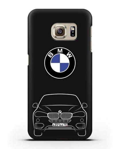 Чехол BMW X6 с автомобильным номером силикон черный для Samsung Galaxy S6 Edge [SM-G925F]