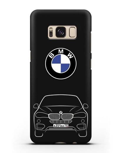 Чехол BMW X6 с автомобильным номером силикон черный для Samsung Galaxy S8 Plus [SM-G955F]