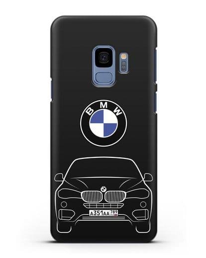 Чехол BMW X6 с автомобильным номером силикон черный для Samsung Galaxy S9 [SM-G960F]