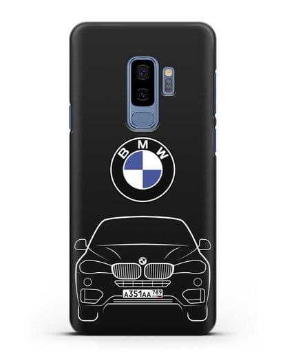 Чехол BMW X6 с автомобильным номером силикон черный для Samsung Galaxy S9 Plus [SM-G965F]