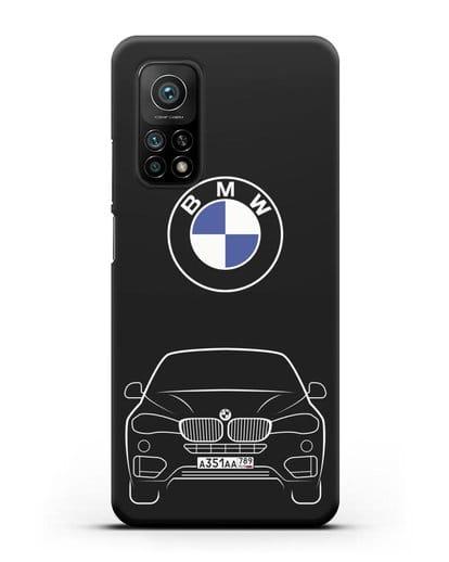 Чехол BMW X6 с автомобильным номером силикон черный для Xiaomi Mi 10t Pro