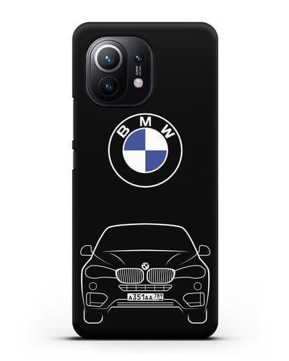 Чехол BMW X6 с автомобильным номером силикон черный для Xiaomi Mi 11