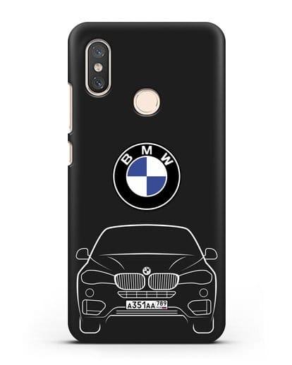 Чехол BMW X6 с автомобильным номером силикон черный для Xiaomi Mi 8