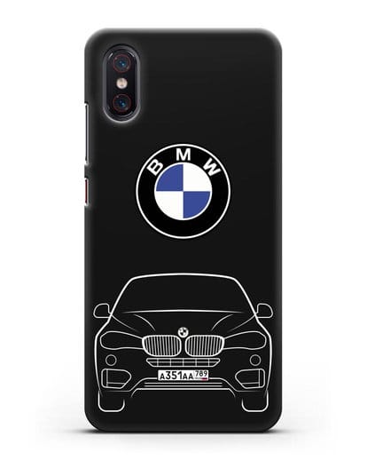 Чехол BMW X6 с автомобильным номером силикон черный для Xiaomi Mi 8 Pro