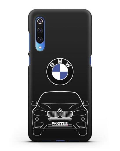 Чехол BMW X6 с автомобильным номером силикон черный для Xiaomi Mi 9