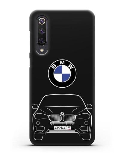 Чехол BMW X6 с автомобильным номером силикон черный для Xiaomi Mi 9 SE