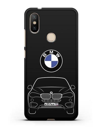 Чехол BMW X6 с автомобильным номером силикон черный для Xiaomi Mi A2