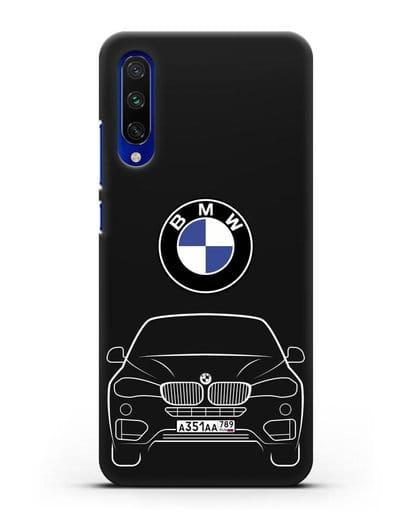 Чехол BMW X6 с автомобильным номером силикон черный для Xiaomi Mi A3