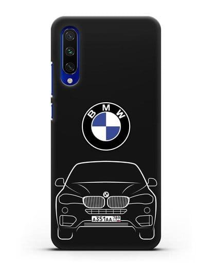 Чехол BMW X6 с автомобильным номером силикон черный для Xiaomi Mi CC9 E
