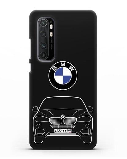 Чехол BMW X6 с автомобильным номером силикон черный для Xiaomi Mi Note 10 lite