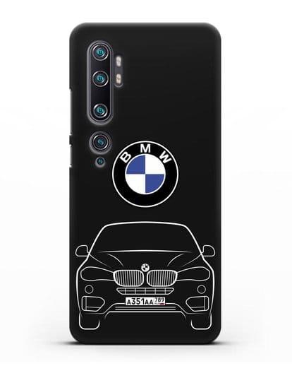 Чехол BMW X6 с автомобильным номером силикон черный для Xiaomi Mi Note 10 Pro