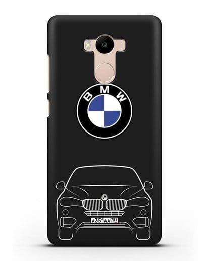 Чехол BMW X6 с автомобильным номером силикон черный для Xiaomi Redmi 4 Pro