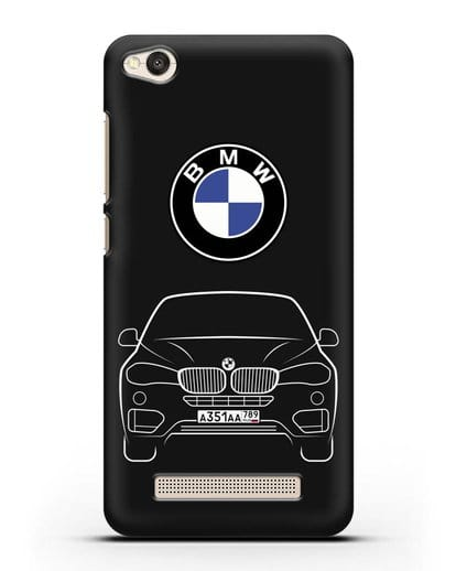 Чехол BMW X6 с автомобильным номером силикон черный для Xiaomi Redmi 4A