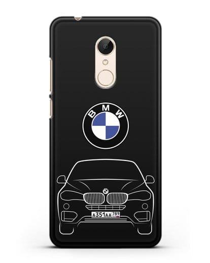 Чехол BMW X6 с автомобильным номером силикон черный для Xiaomi Redmi 5 Plus