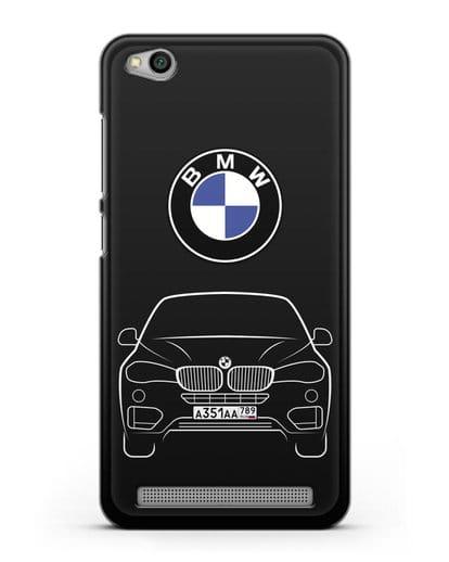 Чехол BMW X6 с автомобильным номером силикон черный для Xiaomi Redmi 5A