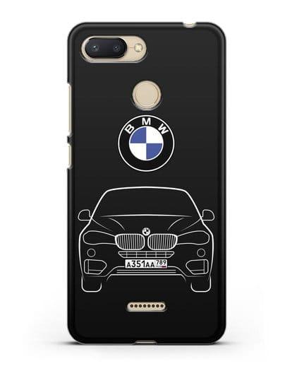 Чехол BMW X6 с автомобильным номером силикон черный для Xiaomi Redmi 6