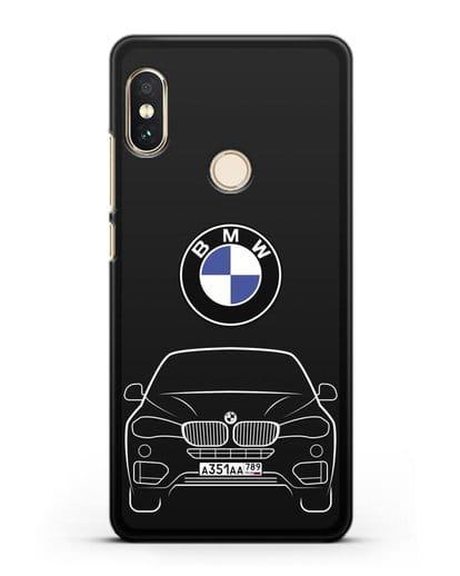 Чехол BMW X6 с автомобильным номером силикон черный для Xiaomi Redmi 6 Pro