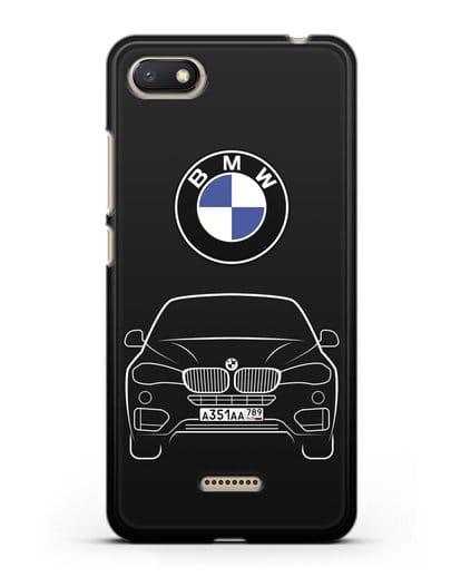 Чехол BMW X6 с автомобильным номером силикон черный для Xiaomi Redmi 6A