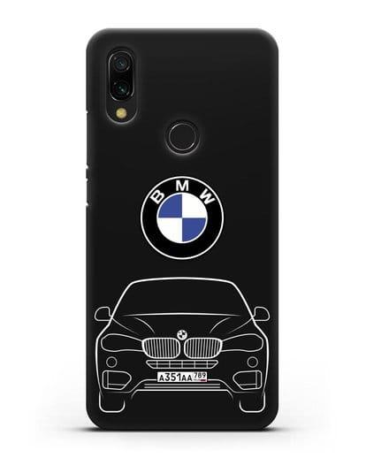 Чехол BMW X6 с автомобильным номером силикон черный для Xiaomi Redmi 7