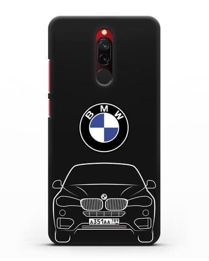 Чехол BMW X6 с автомобильным номером силикон черный для Xiaomi Redmi 8