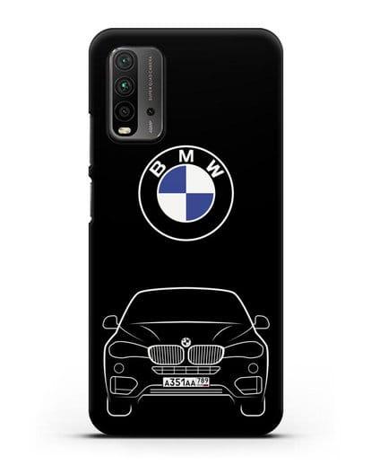 Чехол BMW X6 с автомобильным номером силикон черный для Xiaomi Redmi 9 Power
