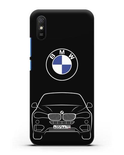 Чехол BMW X6 с автомобильным номером силикон черный для Xiaomi Redmi 9A