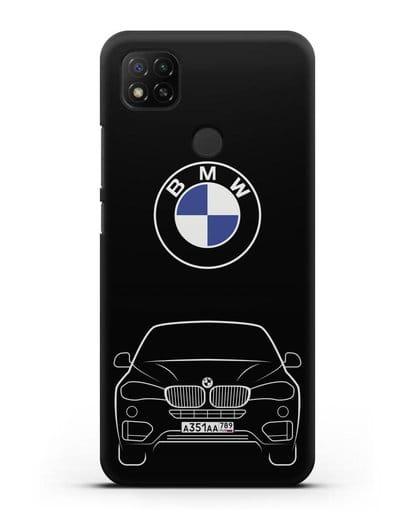 Чехол BMW X6 с автомобильным номером силикон черный для Xiaomi Redmi 9С