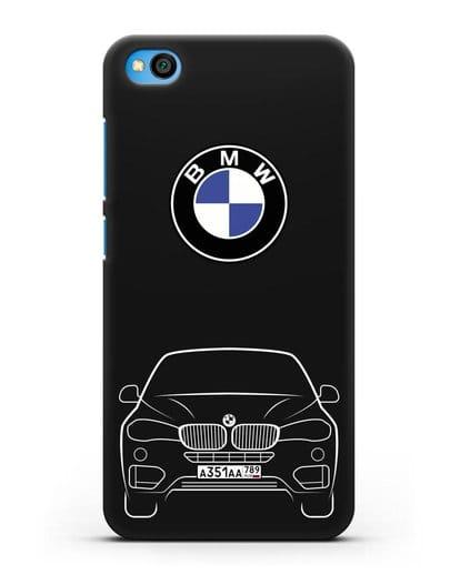 Чехол BMW X6 с автомобильным номером силикон черный для Xiaomi Redmi Go