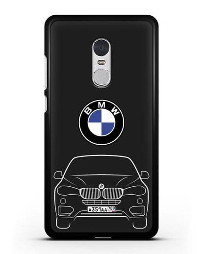 Чехол BMW X6 с автомобильным номером силикон черный для Xiaomi Redmi Note 4