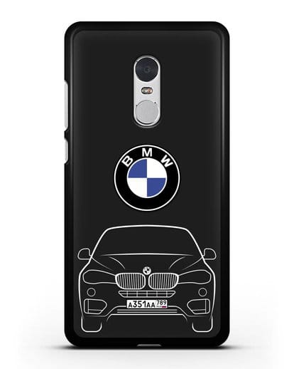 Чехол BMW X6 с автомобильным номером силикон черный для Xiaomi Redmi Note 4X
