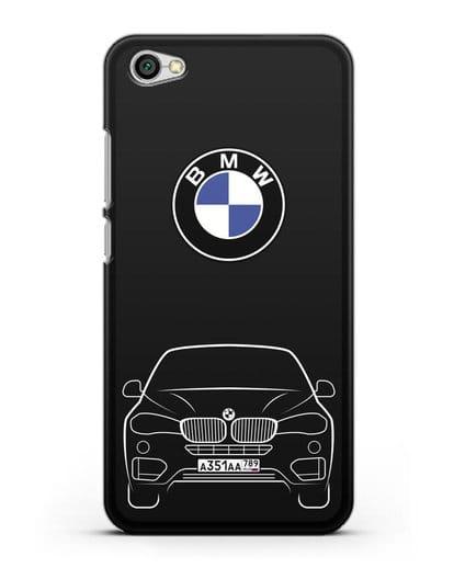 Чехол BMW X6 с автомобильным номером силикон черный для Xiaomi Redmi Note 5A
