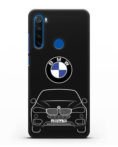 Чехол BMW X6 с автомобильным номером силикон черный для Xiaomi Redmi Note 8T