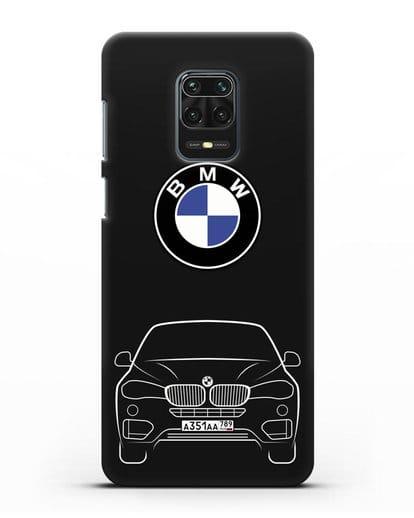 Чехол BMW X6 с автомобильным номером силикон черный для Xiaomi Redmi Note 9 Pro