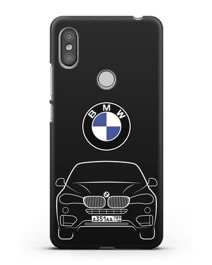 Чехол BMW X6 с автомобильным номером силикон черный для Xiaomi Redmi S2