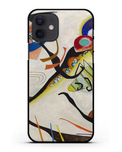Чехол Синий сегмент (Кандинский Василий) силикон черный для iPhone 12
