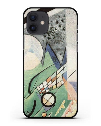 Чехол Зеленая композиция (Кандинский Василий) силикон черный для iPhone 12