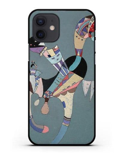 Чехол Плавающая фигура (Кандинский Василий) силикон черный для iPhone 12