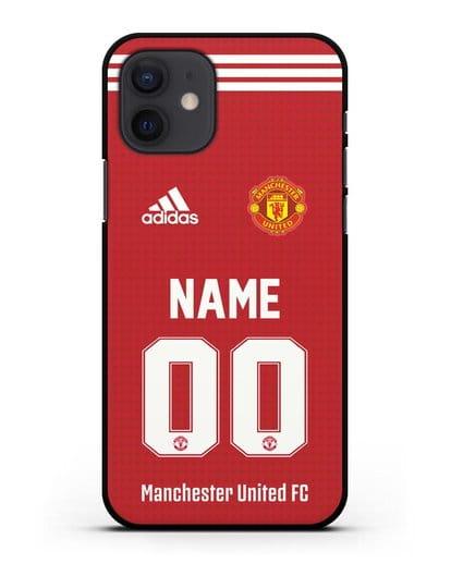 Именной чехол ФК Манчестер Юнайтед с фамилией и номером (сезон 2021-2022) домашняя форма силикон черный для iPhone 12