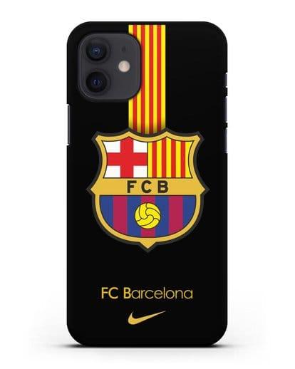 Чехол FC Barcelona с логотипом Nike силикон черный для iPhone 12