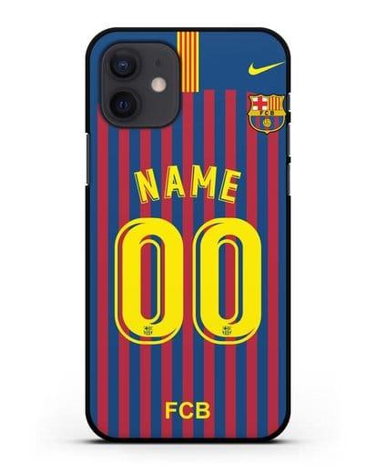 Именной чехол Барселона с фамилией и номером (сезон 2018-2019) сине-красная форма силикон черный для iPhone 12