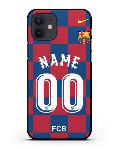 Именной чехол Барселона с фамилией и номером (сезон 2019-2020) красно-синяя форма силикон черный для iPhone 12