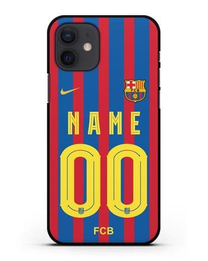 Именной чехол ФК Барселона с фамилией и номером (сезон 2021-2022) домашняя форма силикон черный для iPhone 12