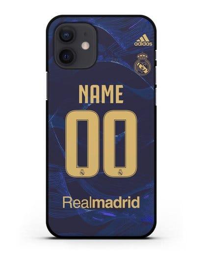 Именной чехол Реал Мадрид с фамилией и номером (сезон 2019-2020) синяя форма силикон черный для iPhone 12