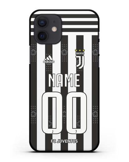 Именной чехол ФК Ювентус с фамилией и номером (сезон 2021-2022) домашняя форма силикон черный для iPhone 12