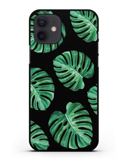 Чехол Тропические листья силикон черный для iPhone 12
