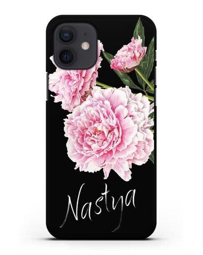 Именной чехол Розовые пионы силикон черный для iPhone 12